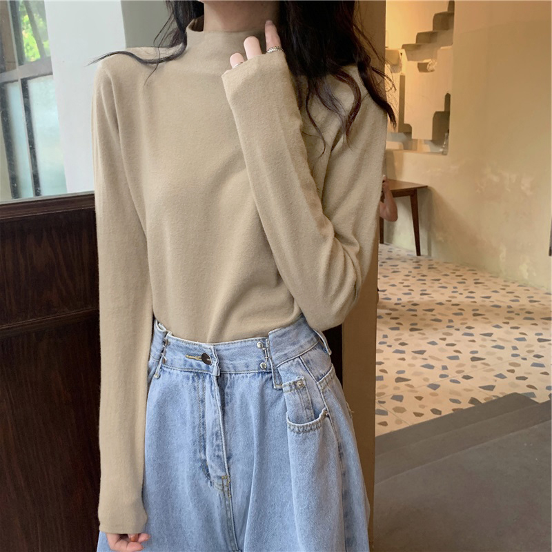 Womens half high collar denim bottomed shirt with cashmere chic Hong Kong style top in autumn and winter