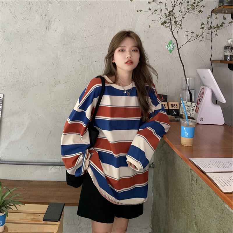 条纹T恤女装2020新款春秋季冬网红韩版宽松中长款长袖上衣服ins潮