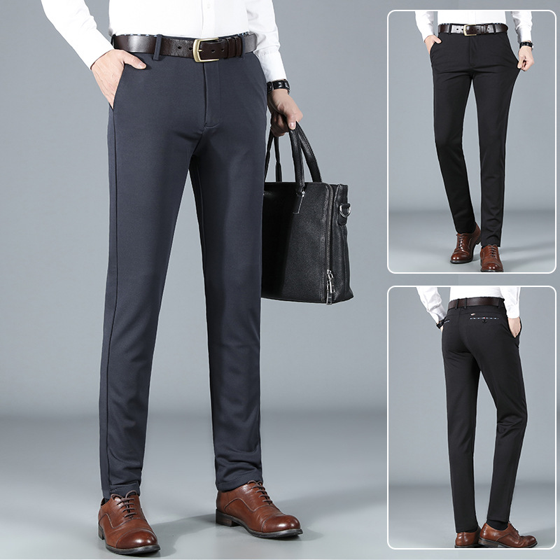 2021 autumn and winter new mens wear mens business casual pants trousers loose elastic wrinkle free mens long pants