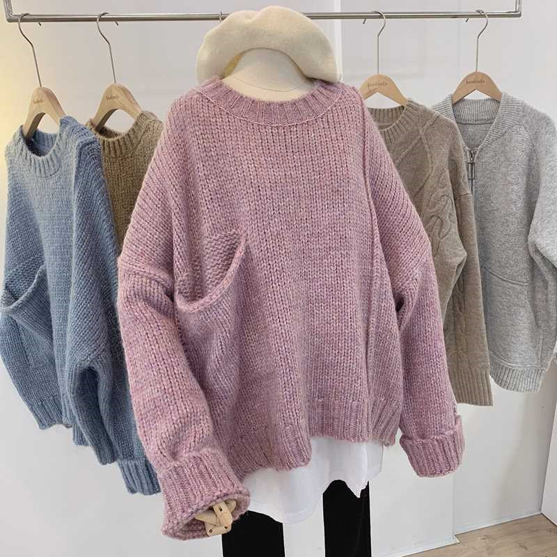 Literature and art womens round neck sweater spring 2019 new oversized pocket thick thread top large size loose Pullover Sweater