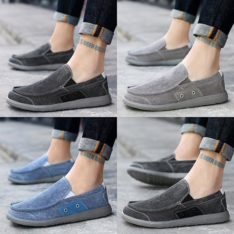 Summer mens cloth shoes denim light and breathable loafer shoes for young people