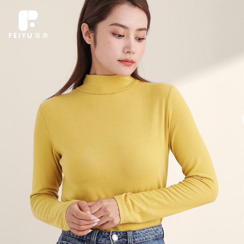 Womens autumn winter 2020 Cotton Long Sleeve T-Shirt versatile top with spring and autumn thickening inside