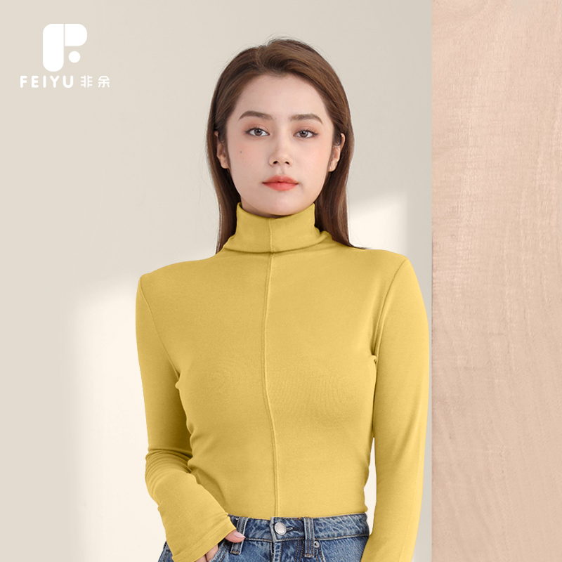 Non surplus 2020 spring and autumn winter base coat for women with long sleeve T-shirt and high collar thickened fleece black and white
