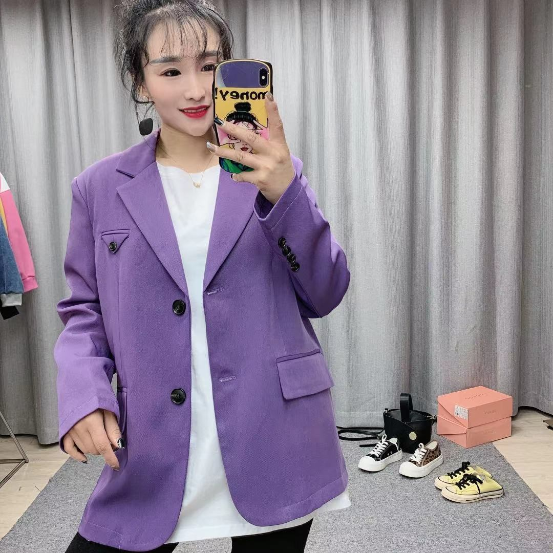 Pinhuan [genuine counter] Korean suit coat 2021 spring versatile straight tube single breasted long sleeve solid color
