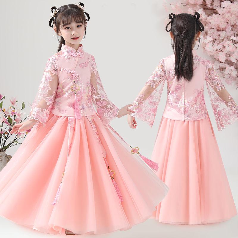 Girls Spring Style Hanfu Fairy Costume Chinese Style Children's Long Skirt Set Little Girl Tang Costume Flag