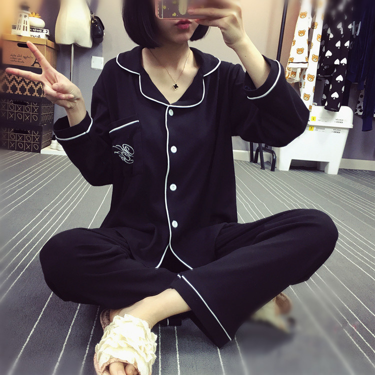 Modal pajamas womens spring and autumn long sleeve cotton black large size suit Korean thin home clothes can be worn out in autumn and winter
