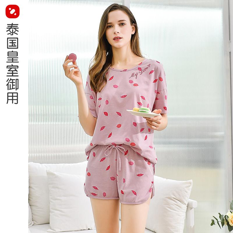 睡衣女夏可外穿2021新款薄款夏季圆领甜美休闲家居服系绳两件套装