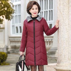 新款中老年女裝連帽棉服媽媽裝冬季加厚保暖棉衣外套連帽寬松棉襖