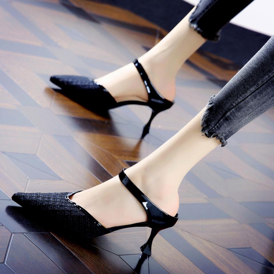韩版外穿包头拖鞋女夏天天大东2020新款真皮细跟尖头透气网纱凉鞋