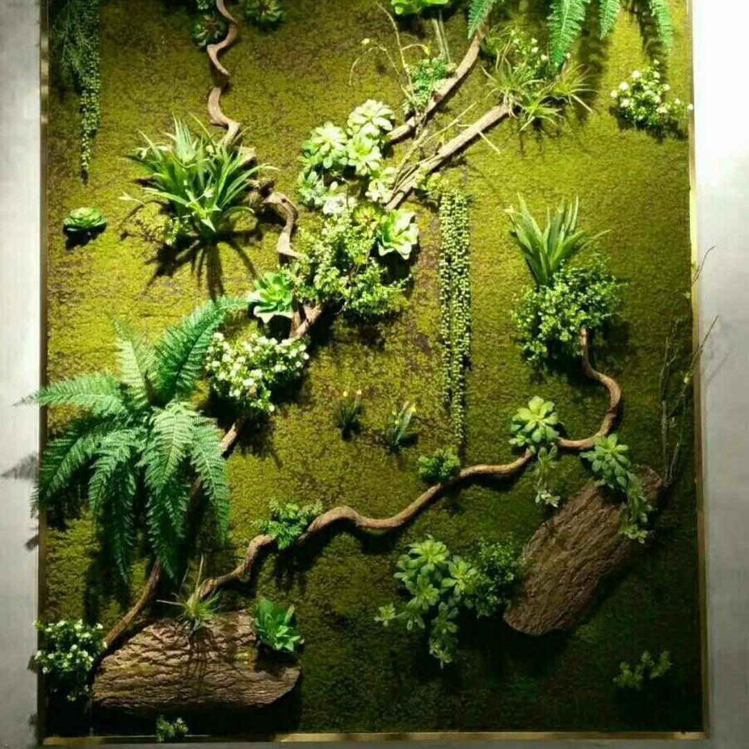 仿真多肉植物墙绿墙 墙面装饰植墙仿真绿化苔藓青苔植物墙配件