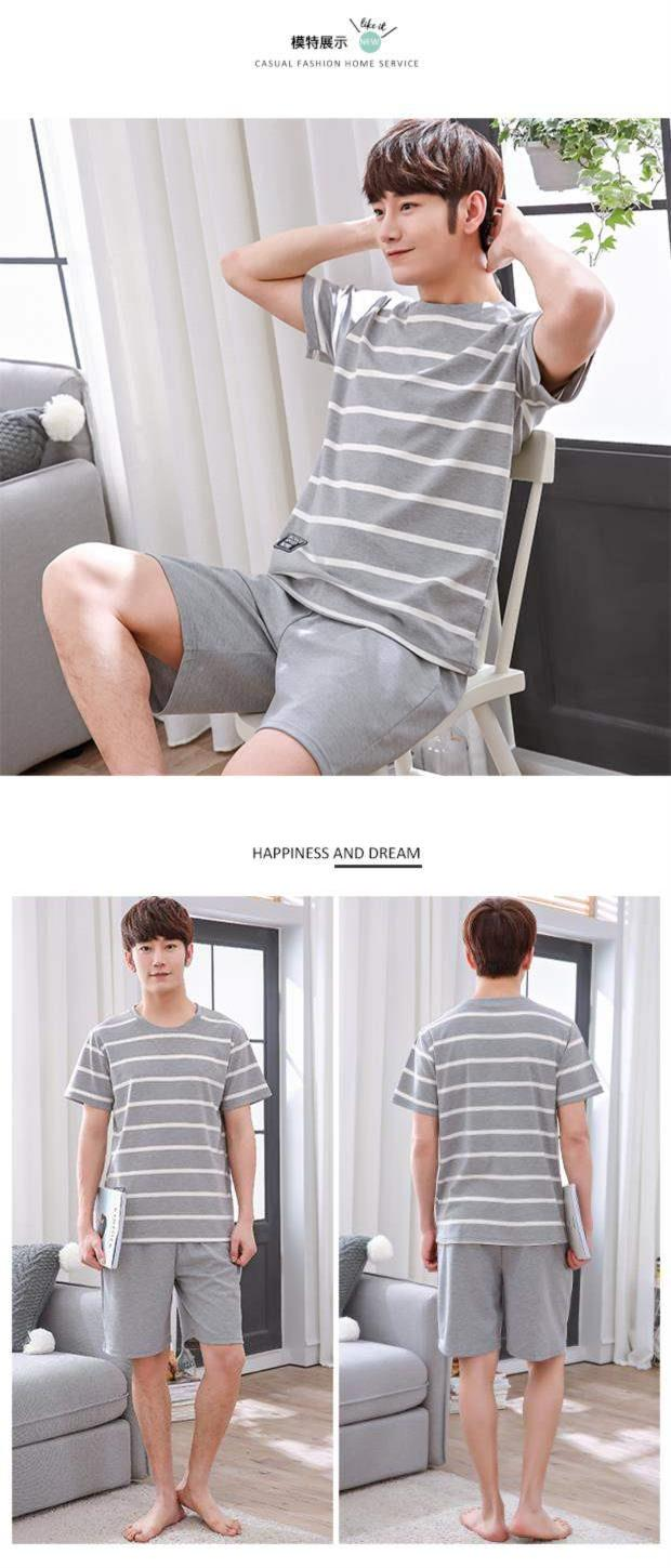 Pajamas mens summer cotton short sleeve summer mens year vest shorts mens cotton home clothes suit plus size