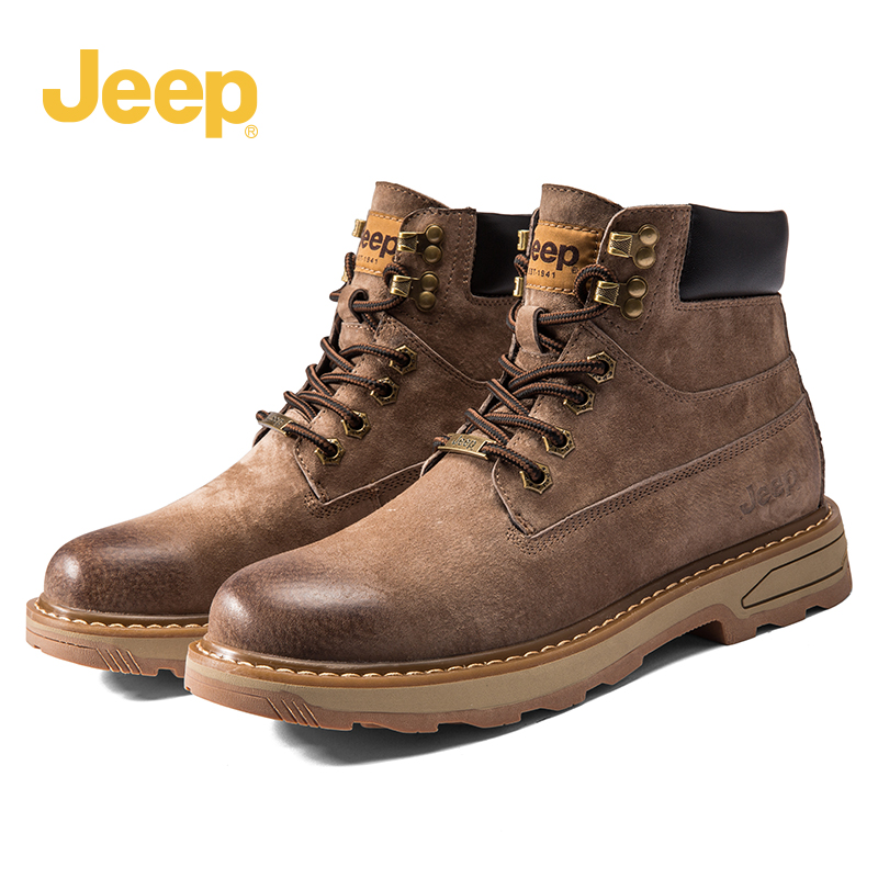 jeep jeep Martin boots men's winter new style plus velvet high-top men's shoes tooling warm snow boots leather boots men