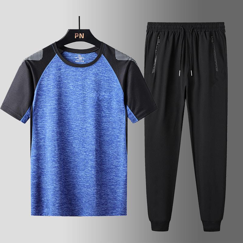 男士休闲运动套装2021夏季款中年速干宽松短袖T跑步装健身套装男