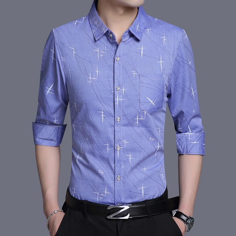 梵客隆春季长袖衬衫男韩版休闲修身衬衣2020青年男士秋季免烫衬衣图片