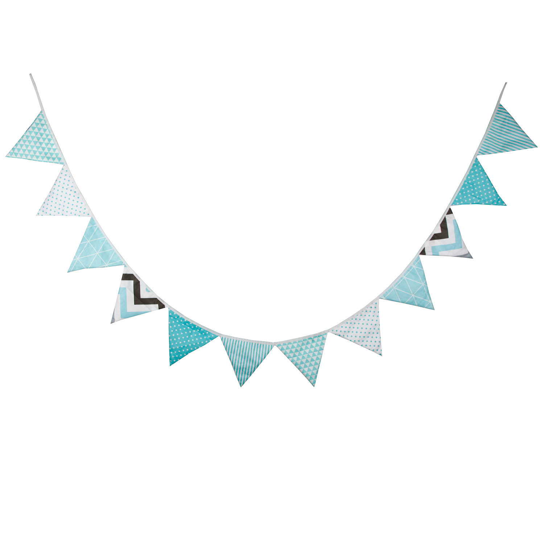 提夫尼蓝棉布房家居装饰派对生日装饰三角旗新品儿童