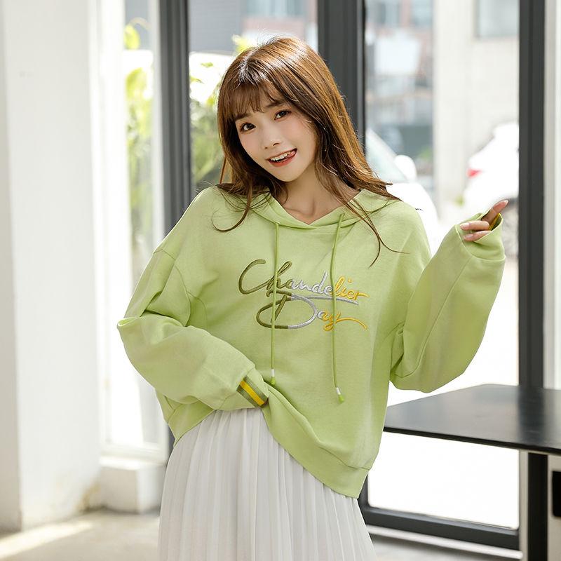 Womens sweater Korean fashion womens autumn loose Hoodie Avocado Green womens round neck long sleeve cotton Pullover coat