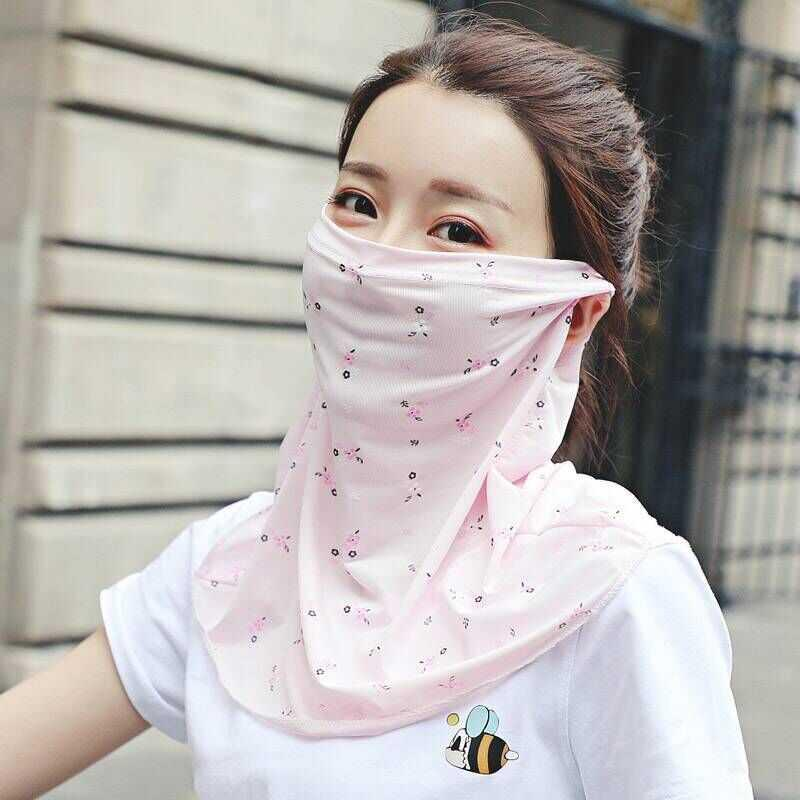 Mask spring and summer sunscreen female neck protection breathable mask full face UV proof ice silk thin silk scarf neck veil