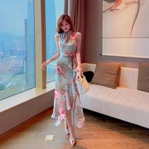 欧洲站碎花鱼尾半身裙套装女夏新款高腰显瘦气质雪纺仙女裙两件套