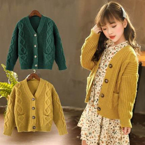 Korean girls sweater jacket cardigan thickened thick thread spring and autumn new Zhongda childrens Retro sweater jacket foreign style
