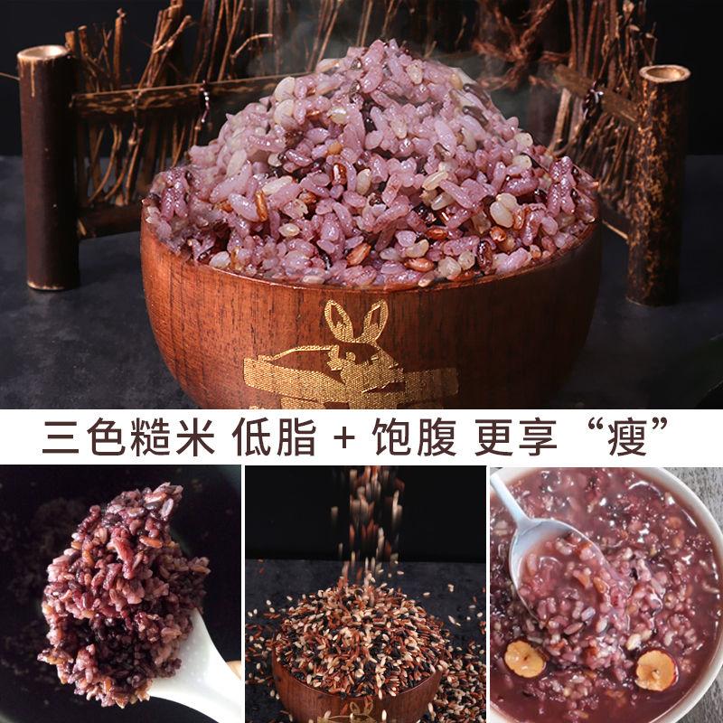 三色糙米新米5斤五谷杂粮红米黑米糙米粗粮健身脂减胚芽饭