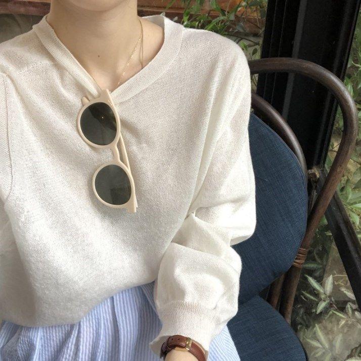 秋季韩版女装宽松复古长袖针织衫百搭圆领套头T恤纯色打底衫上衣