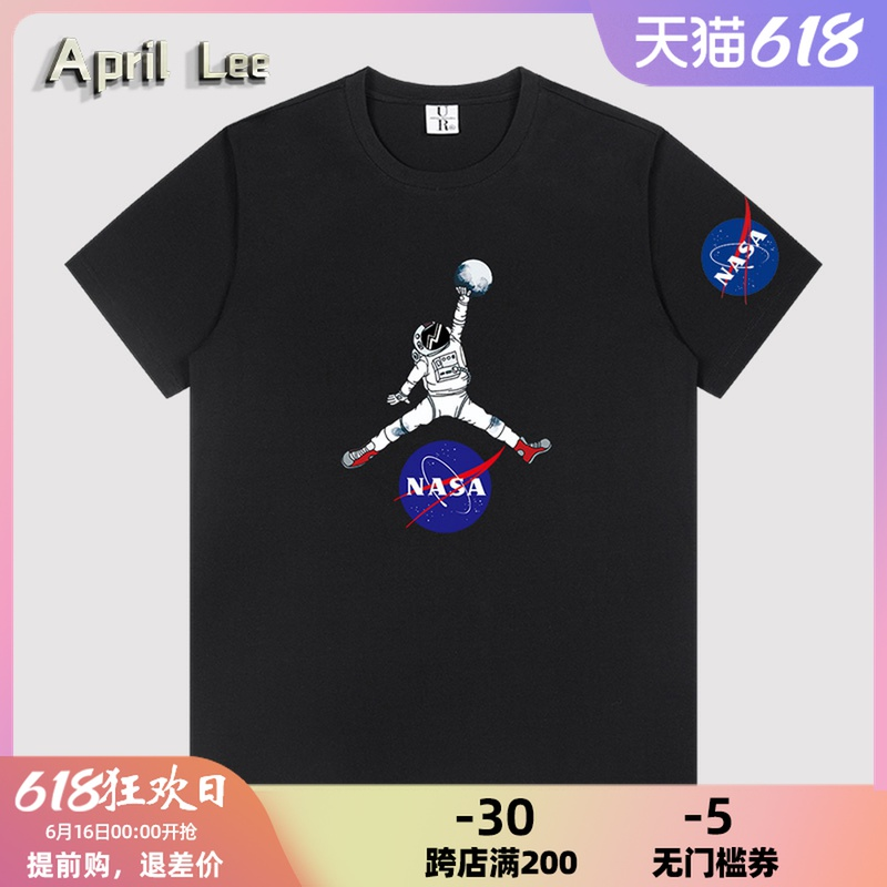 April Lee联名男女短袖t恤夏季宽松半袖圆领nasa宇航员篮球上衣服