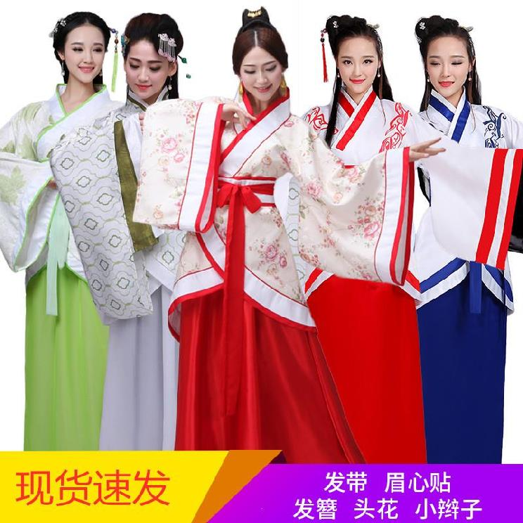 Middle and high school students' performance costumes, young style formal wear, Tang suit split, national style film and television medium long red