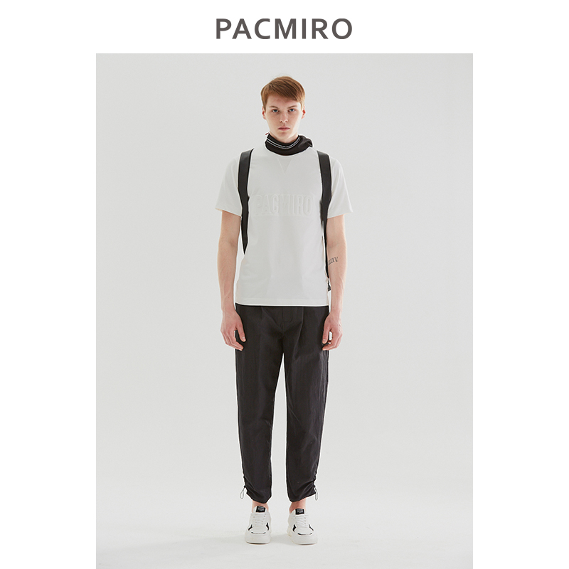 Pacmiro mens new fashionable summer travel half sleeve cotton pure white relief raised print bottoming T-shirt
