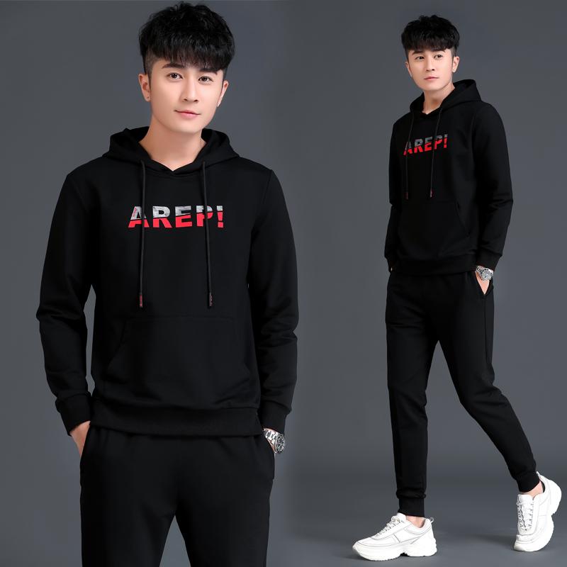 2020春款男士连帽卫衣休闲运动套装韩版潮流运动衣服一套搭配帅气