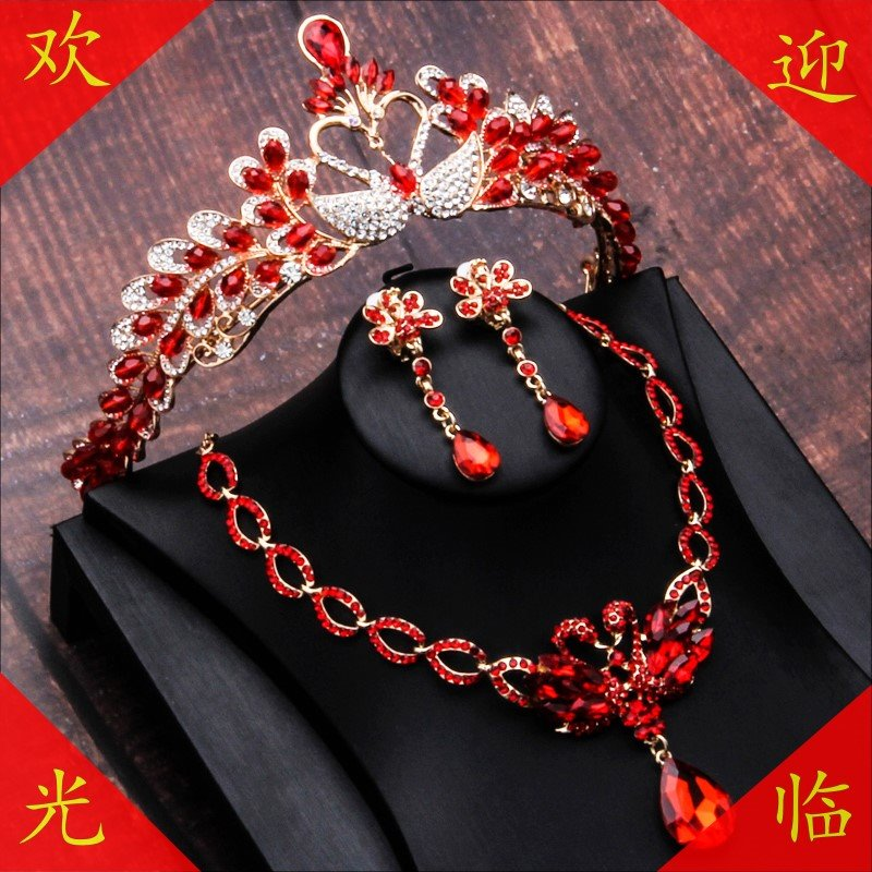 Bridal red crown dress headdress Wedding Hair Baroque atmosphere wedding dress accessories crown beauty suit