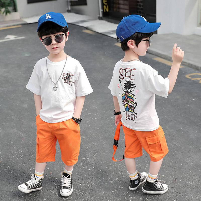 2021夏季新款纯棉儿童短袖套装中大童韩版帅气两件套休闲童装夏装
