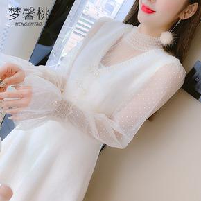 冬季蕾丝两件套连衣裙女装秋冬装2020年新款小个子配大衣打底冬裙