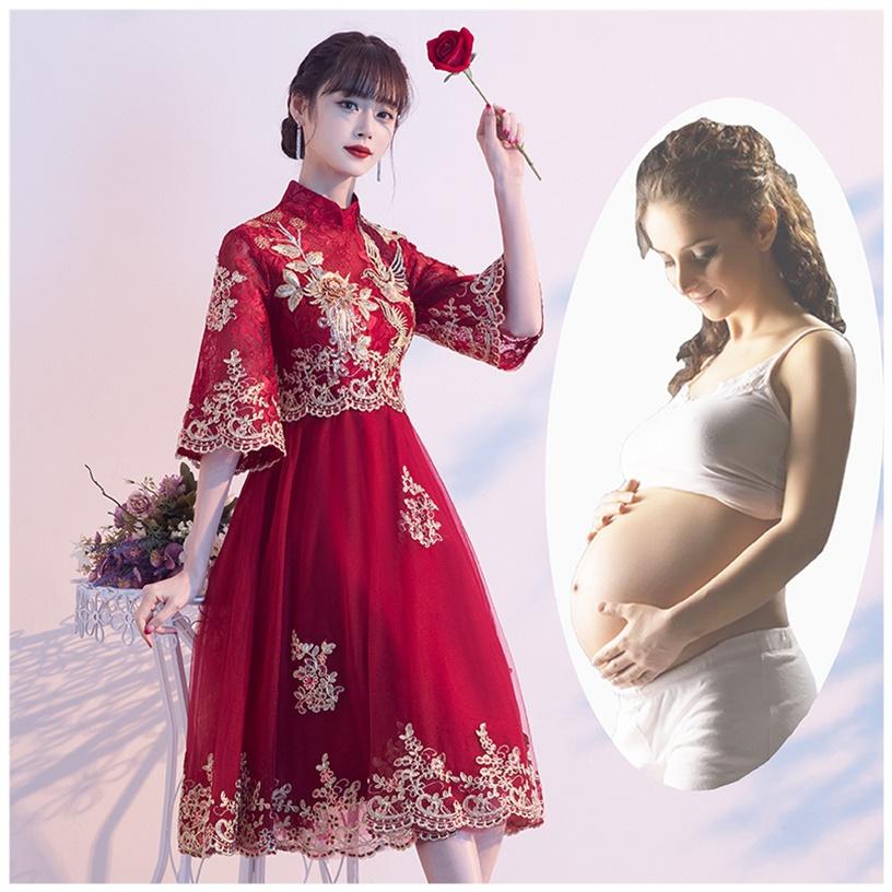 孕妇新娘遮肚中国风旗袍中式敬酒服