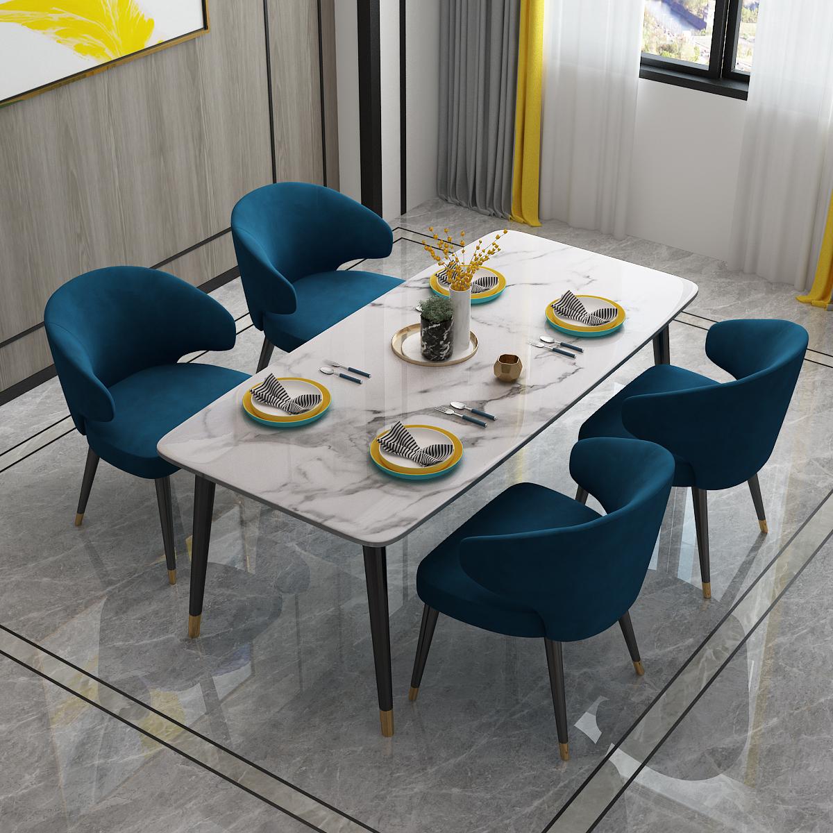北欧の軽奢な大理石の食卓の家庭用の小さい戸型の食事のテーブルと椅子の組み合わせの近代的な簡単な岩板のレストランはテーブルを食べます。