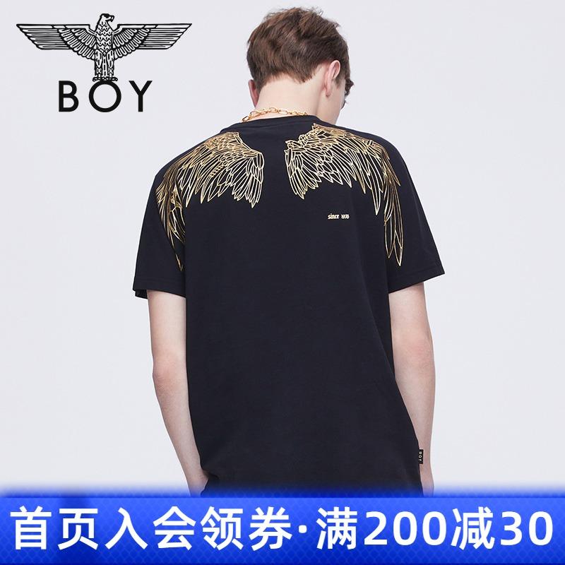 boylondon旗舰官网2021短袖T恤女男对称印花翅膀短T情侣款600302
