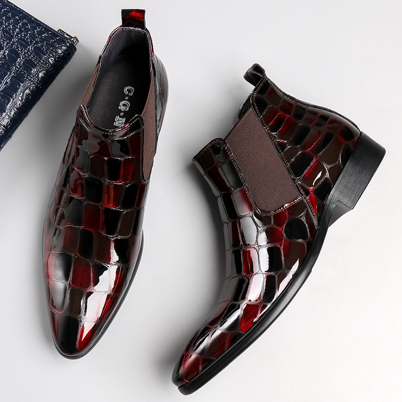 High end embossed mens shoes patent leather mens high top shoes Chelsea Boots Mens leather trend short boots pointed shoes mens shoes