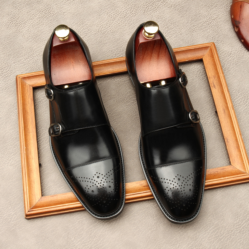 High end new leather business shoes mens Goodyear square head retro shoes Brock carved British solid color monks