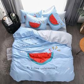 夏季纯棉全面大版卡通四件套双人1.8m床斜纹磨毛床单被套套件全套