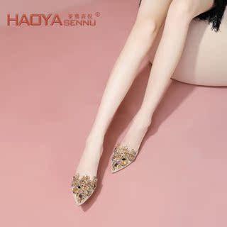 包头女鞋新款2020夏季钩花蕾丝高跟鞋细跟水钻优雅一字带尖头凉鞋