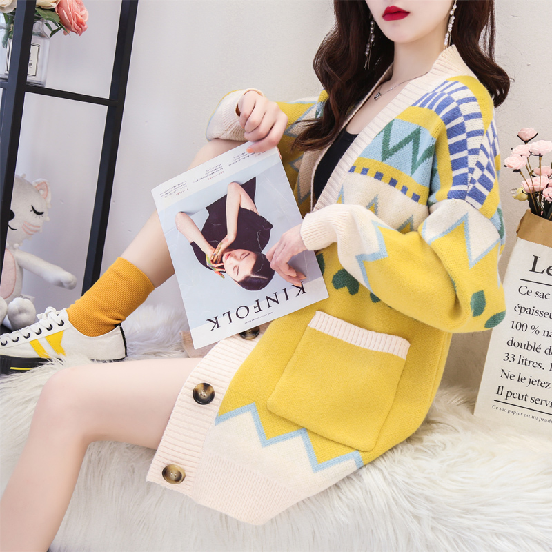 Very fairy sweater cardigan thickened mid long autumn 2019 new online Red Korean version loose and lazy coat for women