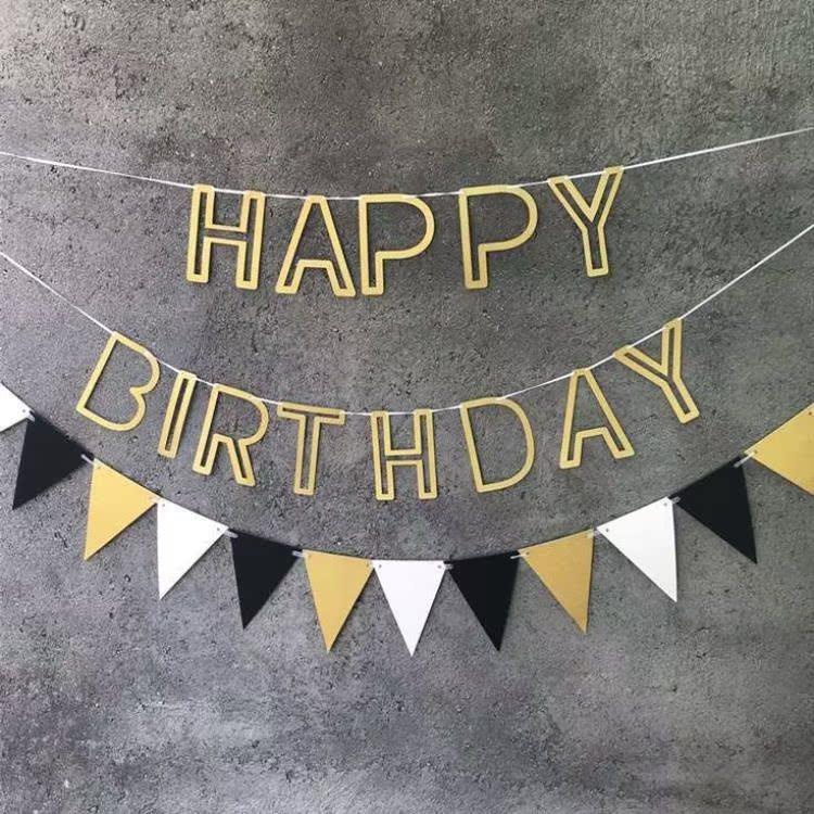 Golden glitter garland hollow out Happy Birthday Birthday