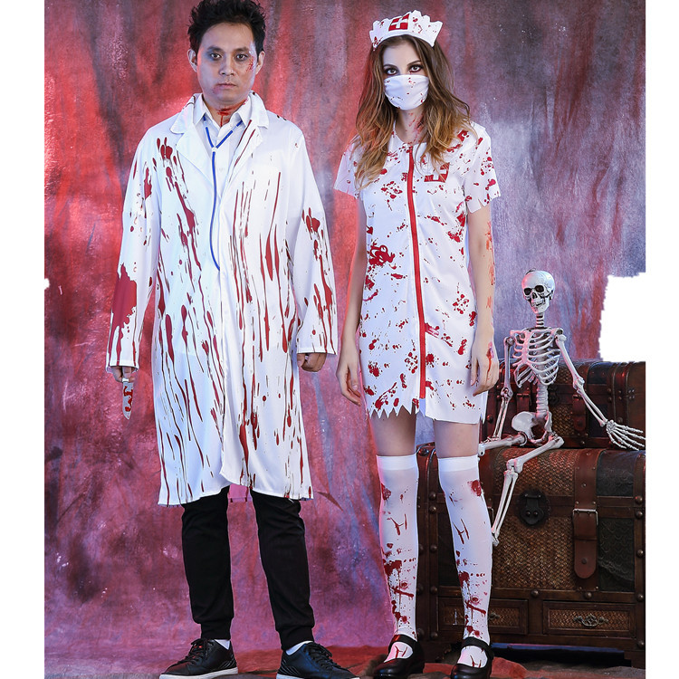 Halloween Ghost Festival horror bloody nurse costume with blood adult female nurse doctor dress couple