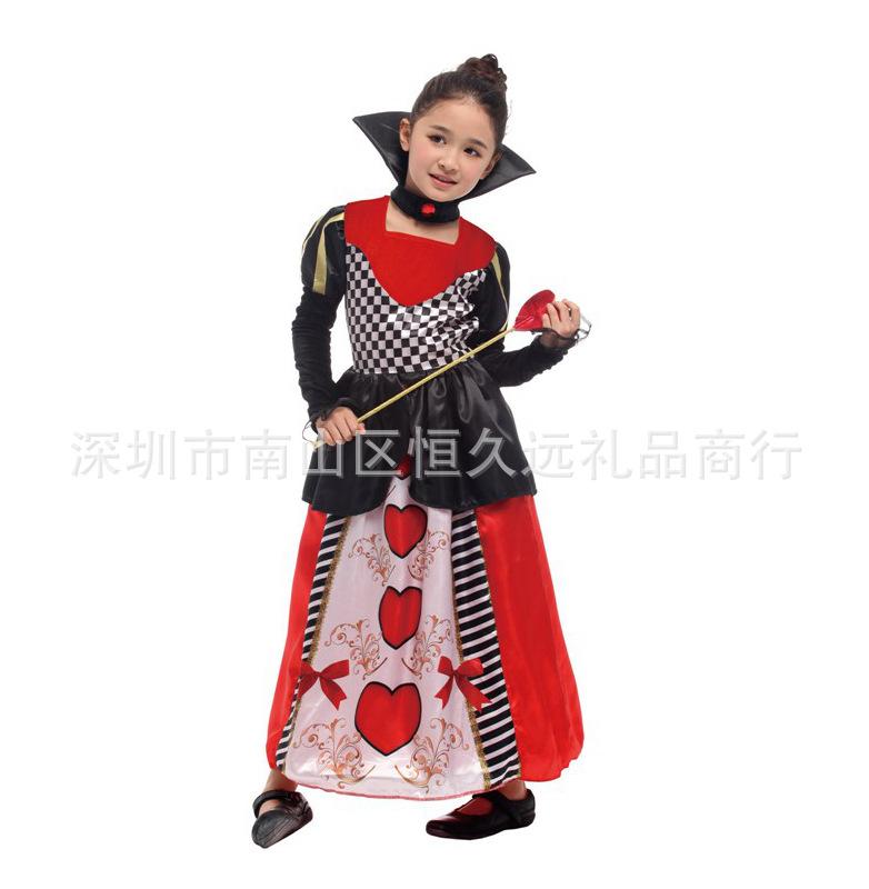 万圣节六一节学校话剧化妆舞会表演出服豪华红心皇后角色扮演儿童