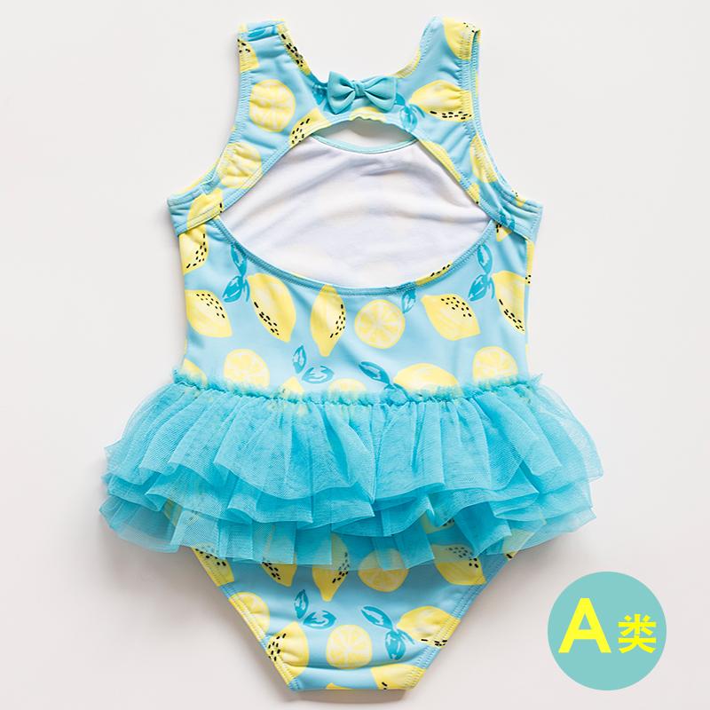 女童宝宝泳衣3岁2幼童公主裙式婴儿小孩游泳衣韩版柠檬时尚比基尼