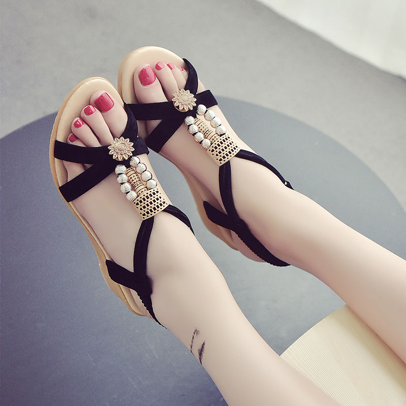 2020 Bohemian Korean summer new style womens slope heel sandals womens flat bottom female students shoes thick soled middle heel