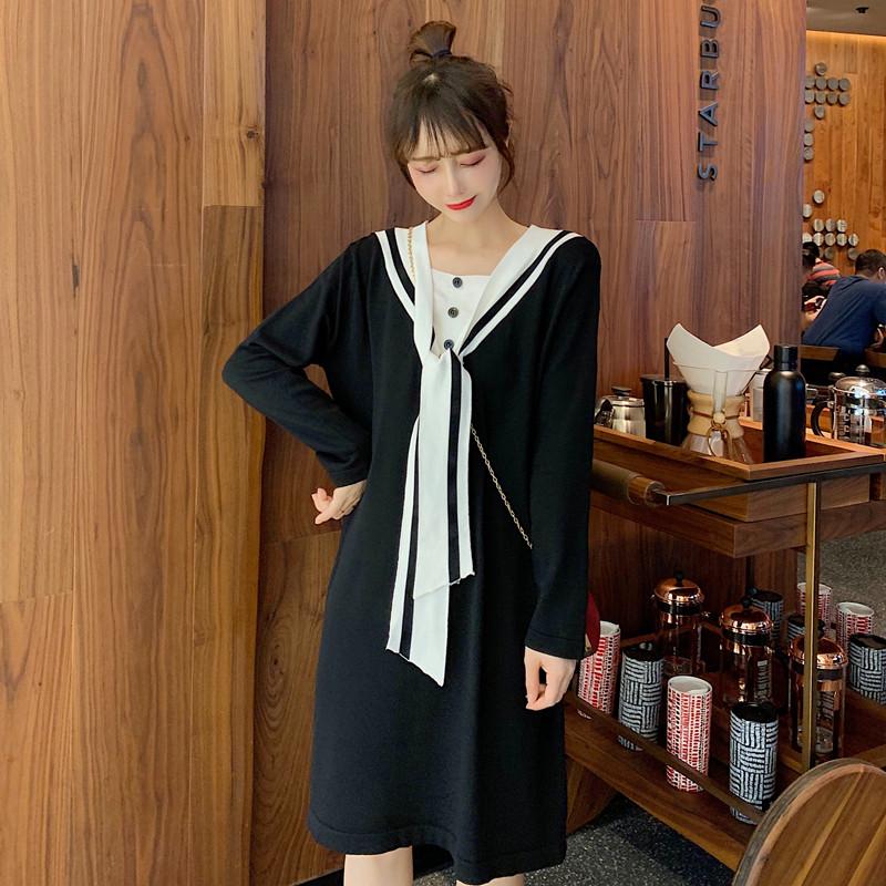 秋装胖mm韩版学院风海军领减龄显瘦中长款款学生长袖针织连衣裙