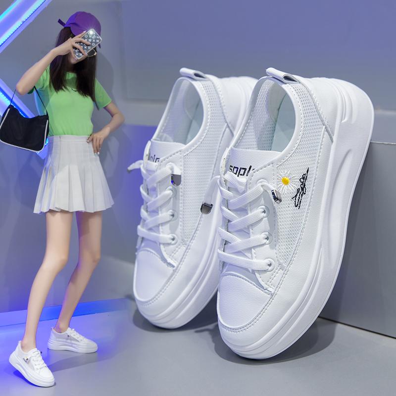 网红2020年薄款爆款小白鞋女2020夏季新款百搭芬夫透气休闲女鞋