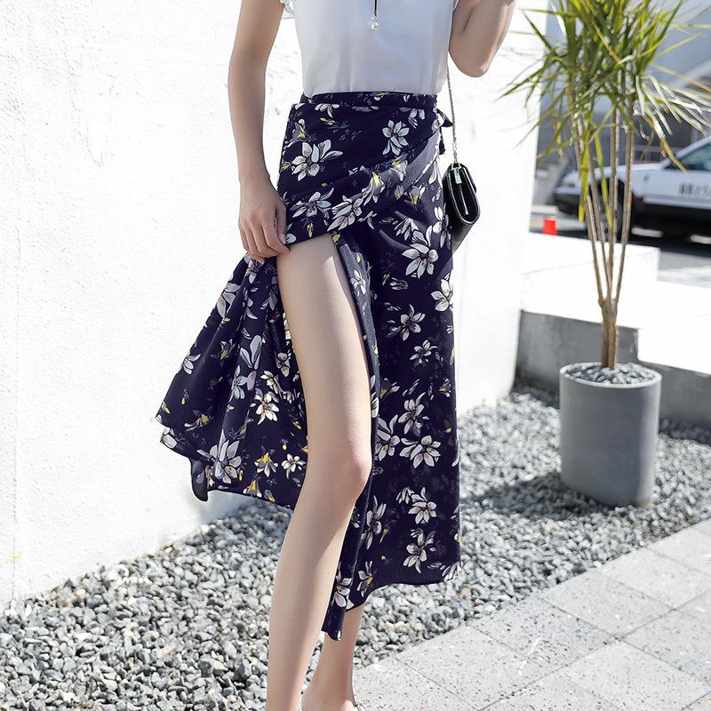中國代購|中國批發-ibuy99|雪纺裙|时尚半身长裙女夏季半身裙2020新款女夏中长款沙滩裙半身裙雪纺
