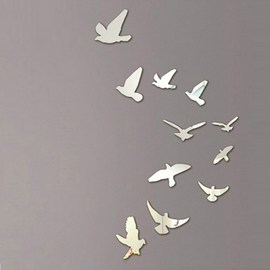 taotown 3d mirror wall stickers nice home decoration birds