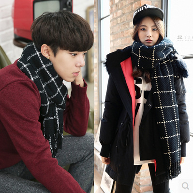 European and American woolen autumn and winter large square fine stripe Plaid knitting thickened womens scarf Korean version with tassel shawl